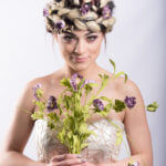 Model with flowers and two tone hair