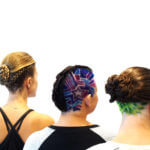Three women with mosaic hair styles